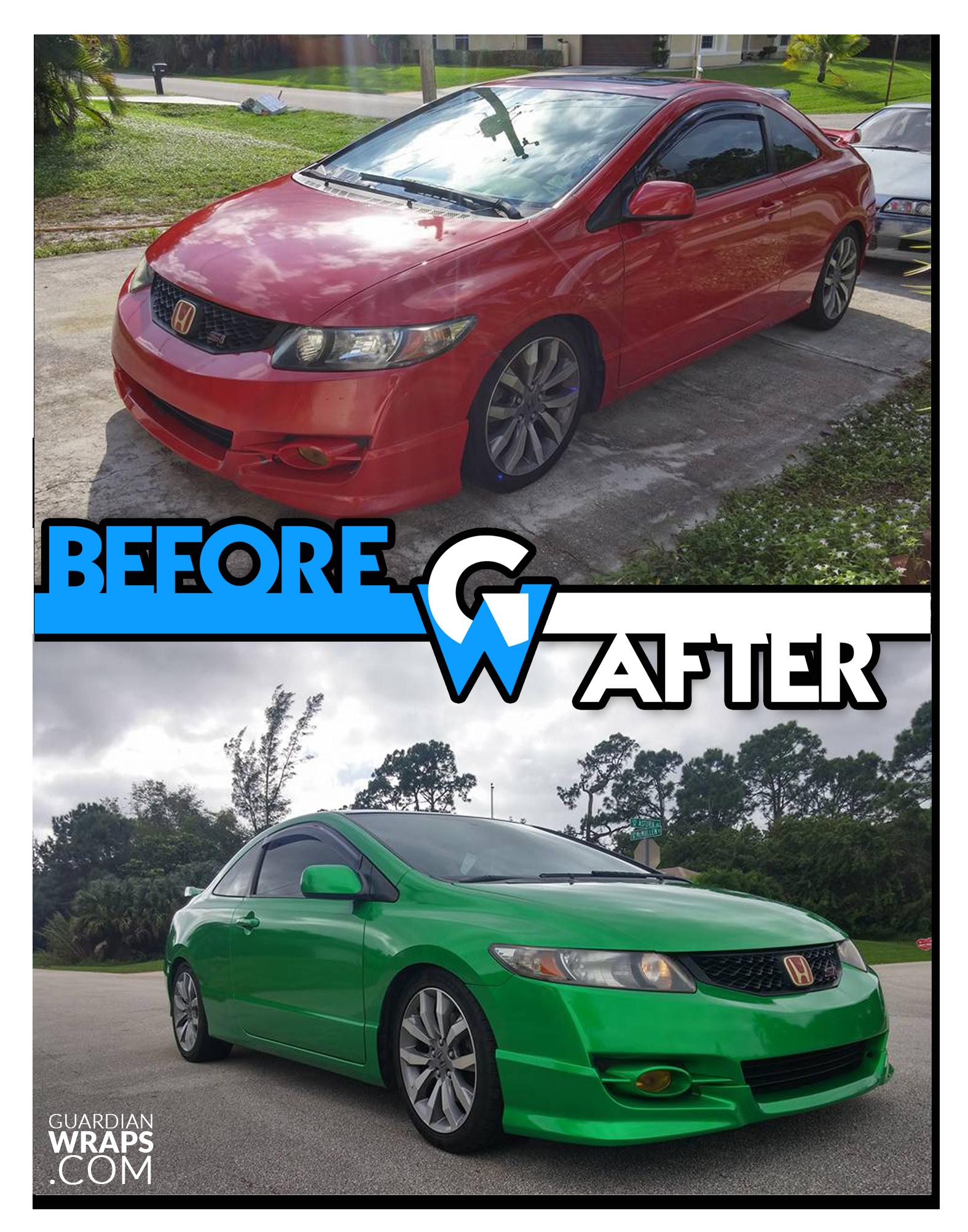 2010 Honda Civic Green Vinyl Wrap Guardian Wraps Before And After 2010 Honda Civic Vinyl Wrap Honda Civic