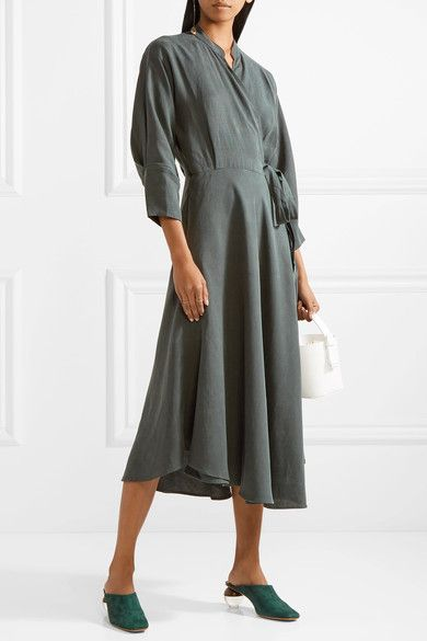 Wild Waves Tencel And Linen-blend Wrap Midi Dress - Army green Apiece Apart