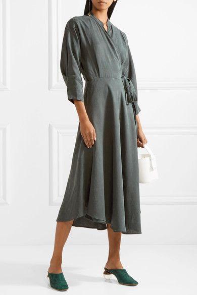 Wild Waves Tencel And Linen-blend Wrap Midi Dress - Army green Apiece Apart oTC3Xn2