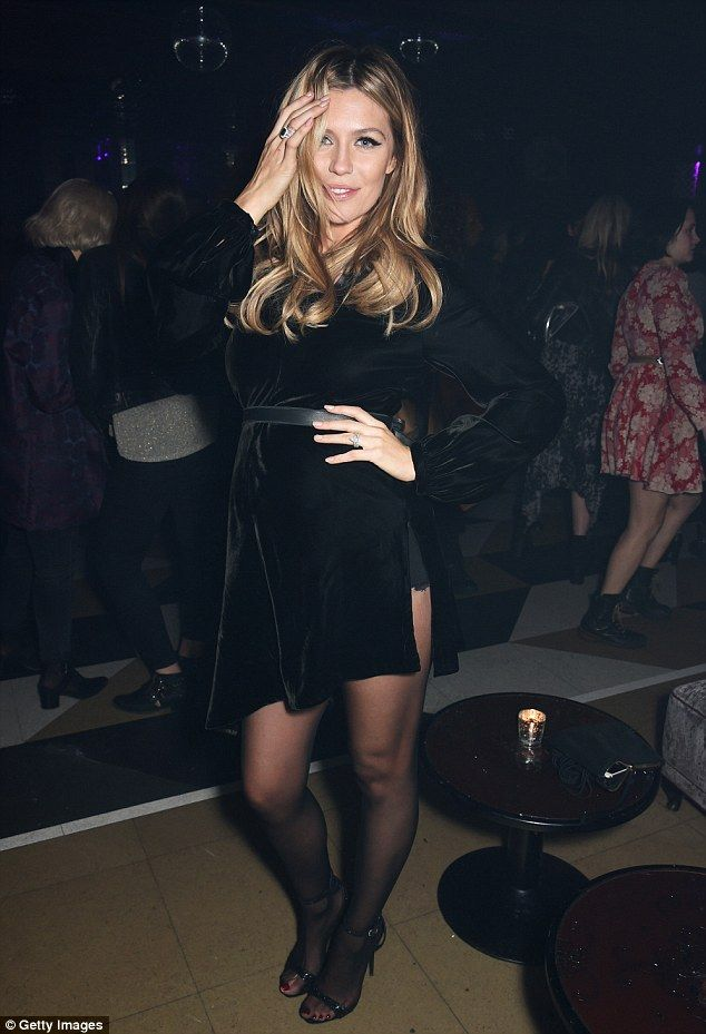 Abbey Clancy Wears Racy Black Dress Slit To Her Hip At Nmes