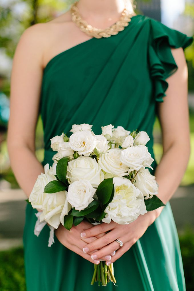Chic Emerald Wedding Glamorous Wedding Bridesmaid Bouquet White