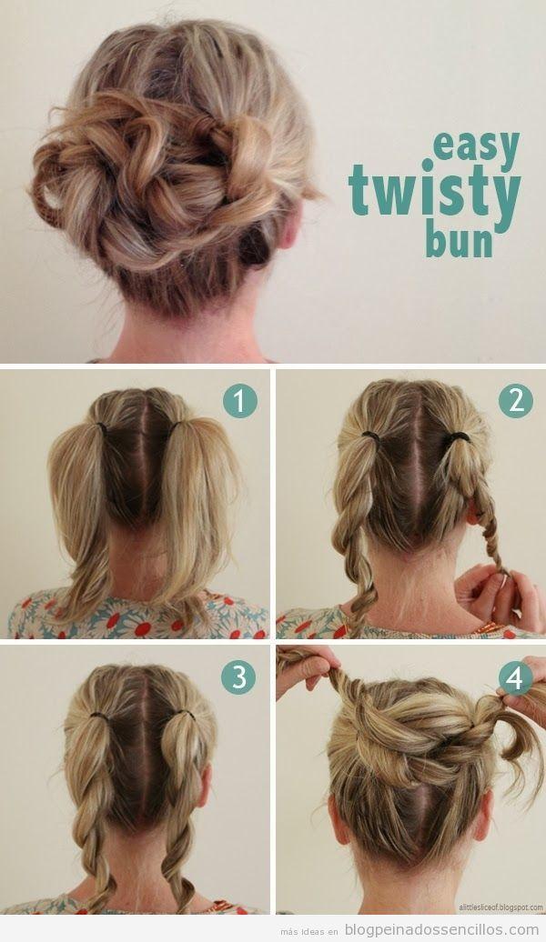 Tutorial Peinado Sencillo Recogido Facil Con Dos Coletas Peinados - Recogidos-sencillos-paso-a-paso