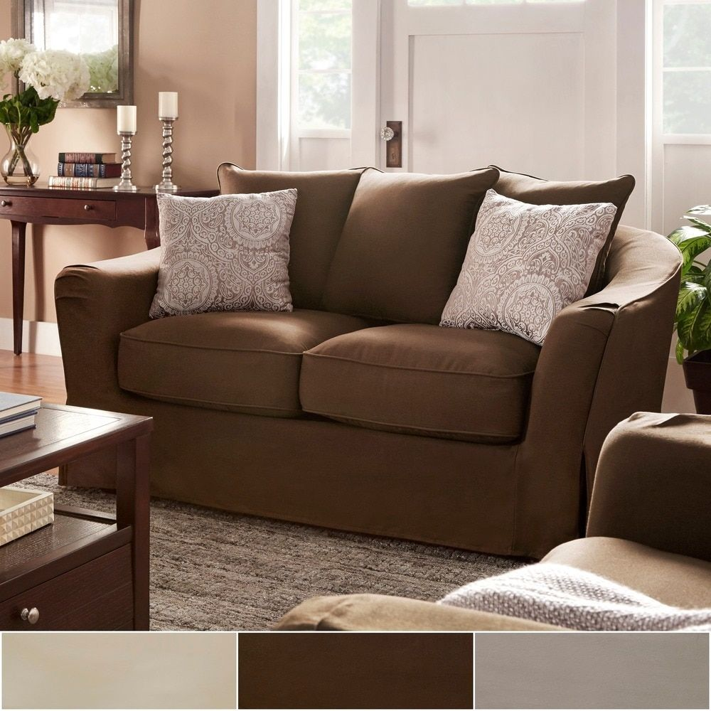 Ellyson Flared English Arm Slipcovered Feather Down Loveseat by iNSPIRE Q  Classic by iNSPIRE Q