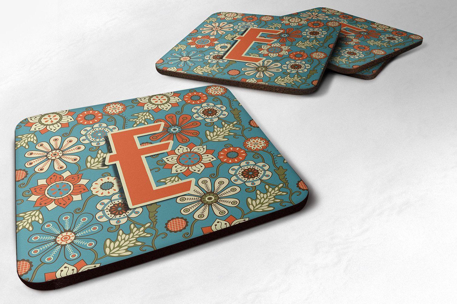 Set of 4 Letter E Flowers Retro Blue Foam Coasters CJ2012-EFC