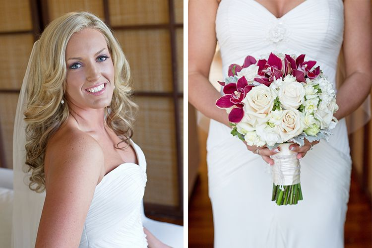 """Beautiful bride Kirsten wearing """"Valentina"""" by Baccini and Hill"""
