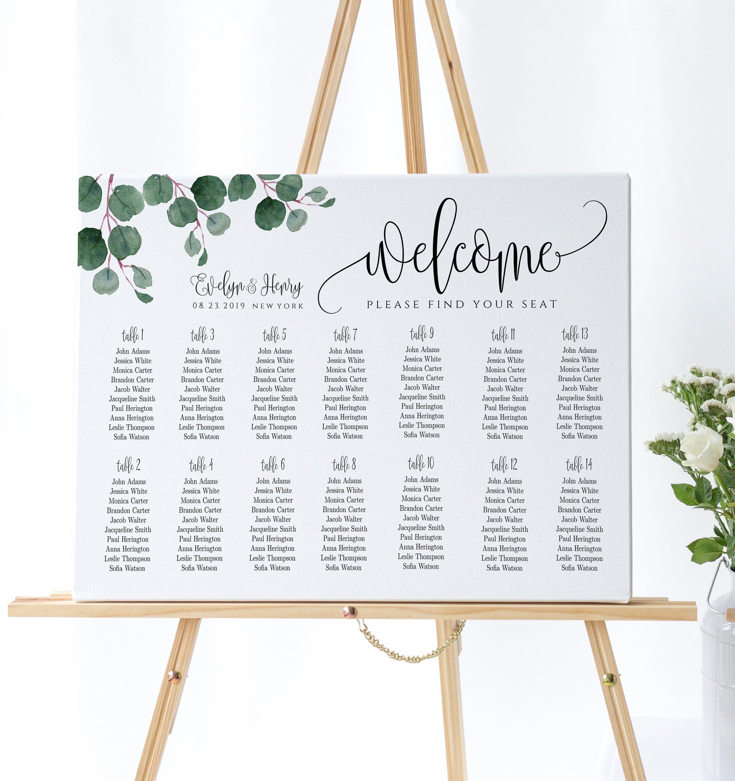 Wedding Seating Chart, Alphabetical Order, Wedding Seating