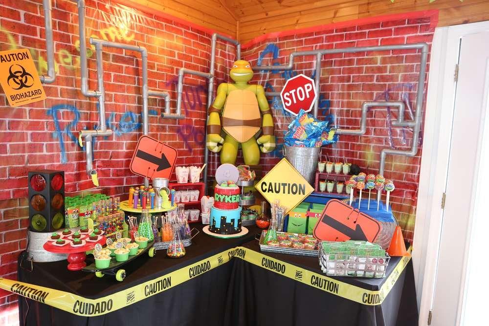 Teenage Mutant Ninja Turtles Themed Birthday Party Tmnt Ideas Cake Tmnt Birthday Party Ideas Ninja Turtles Birthday Party Ninja Turtle Theme Party