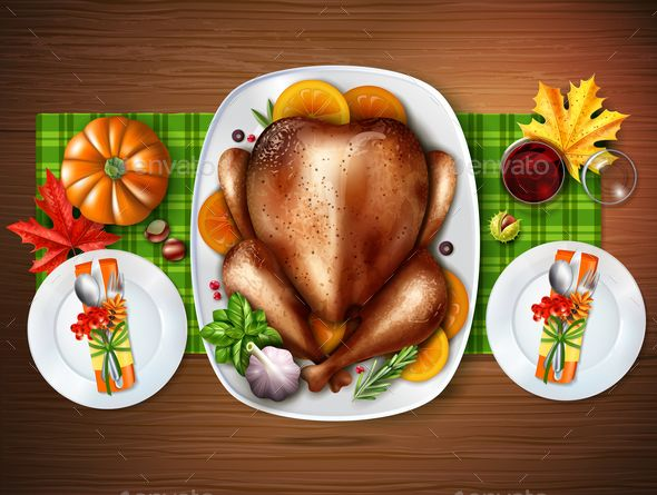 Colored Realistic Top Turkey Composition With A Table With Treats