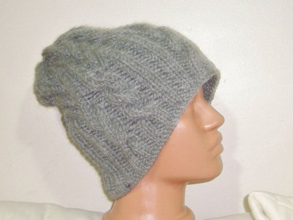 Grey beanie hat beret beanie men cable knit