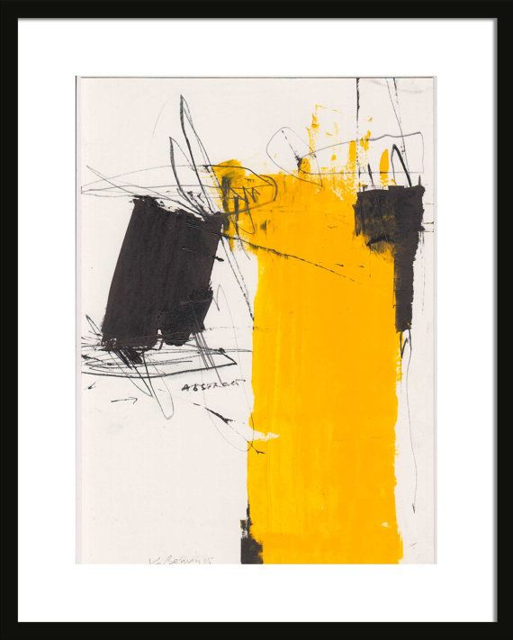Abstract Oil Painting On Paper Black Yellow On White By