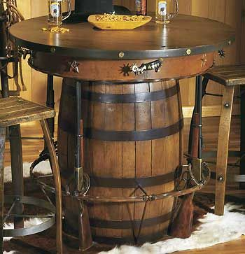 Rustic Western Pub Bistro Table Adorned With All The