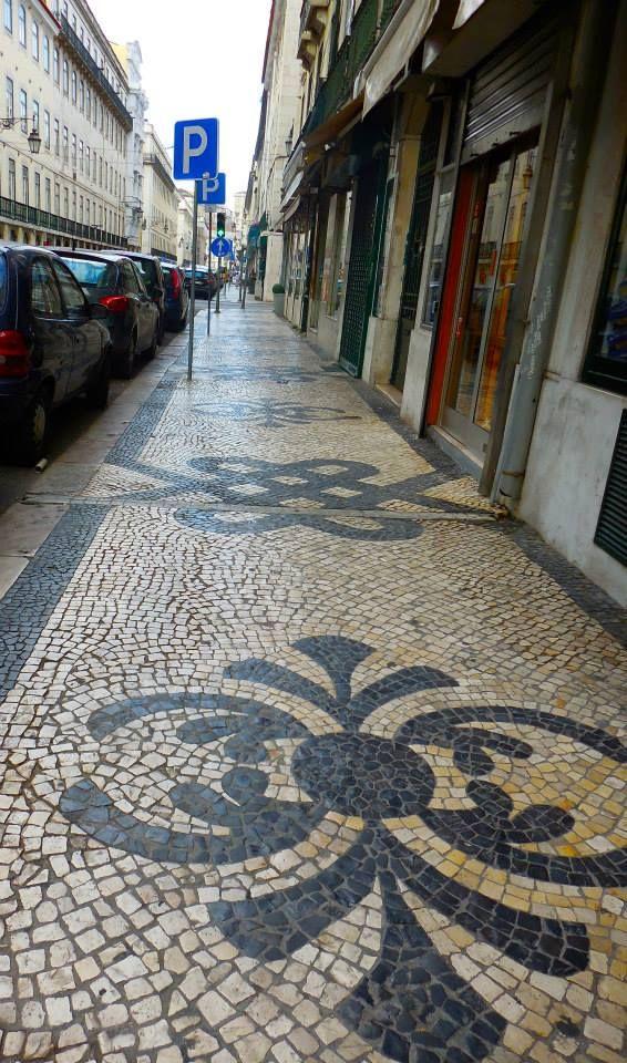Lisbon Street Tiles Cobble Stone Portugal Lisbon