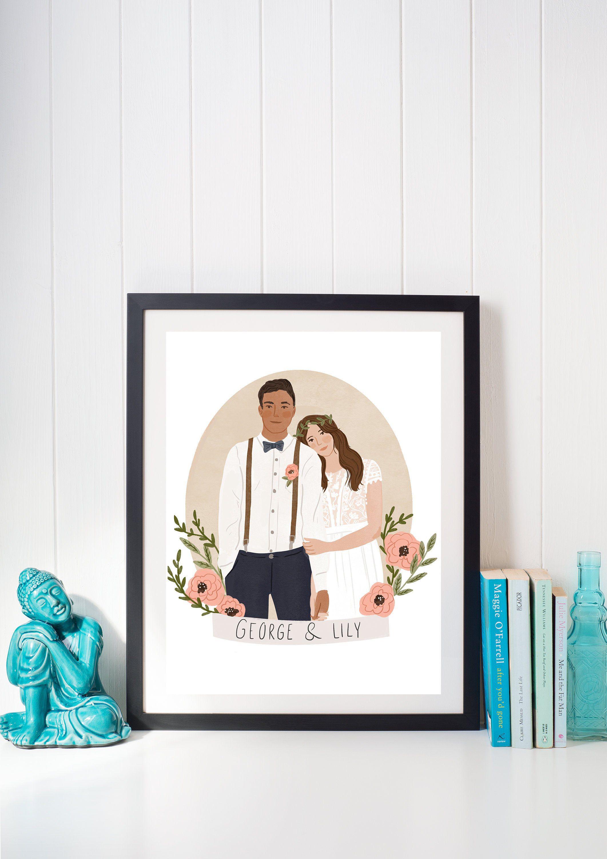 Digital File Couple Portrait Couple Illustration Personalised Wedding Gift Custom Wedding Portrait Anniversary Gift Wedding In 2020 Personalized Wedding Gifts Personalized Wedding Wedding Illustration