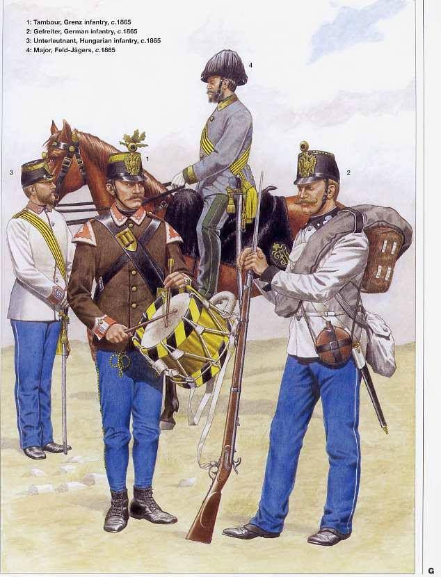 1 Tambur,Grenz infantry,1865 2 Gefreiter,German Infantry,1865 3 Unterleutnant,Hungarian infantry