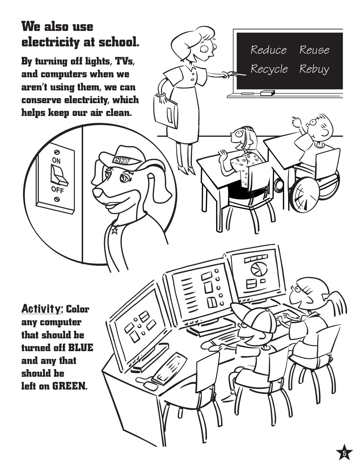 Energy Conservation Activity & Coloring Page #