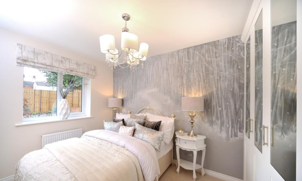 interior designed small guest bedroom using french painted side tables winter wood wall mural wallpaper and a silver metallic cream colour scheme - Metallic Bedroom 2015