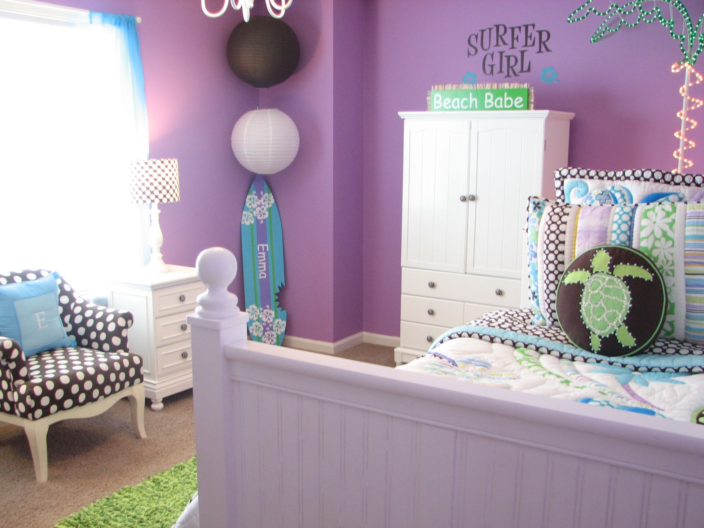 Girls Bedroom Purple And Blue emma's room. surfer girl! she loves the beach, purple and blue
