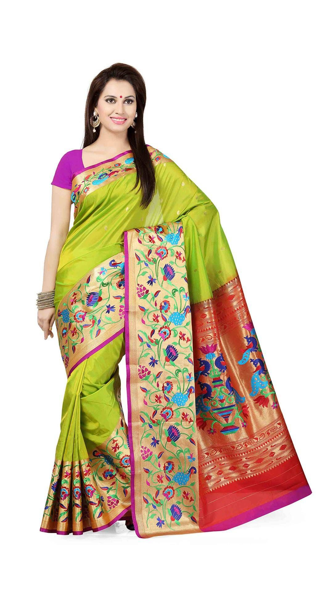 Saree images paithani ishin tana silk green u orange paithani woven party wear saree