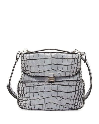 Proenza Schouler Kent Croc Embossed Leather Shoulder Bag
