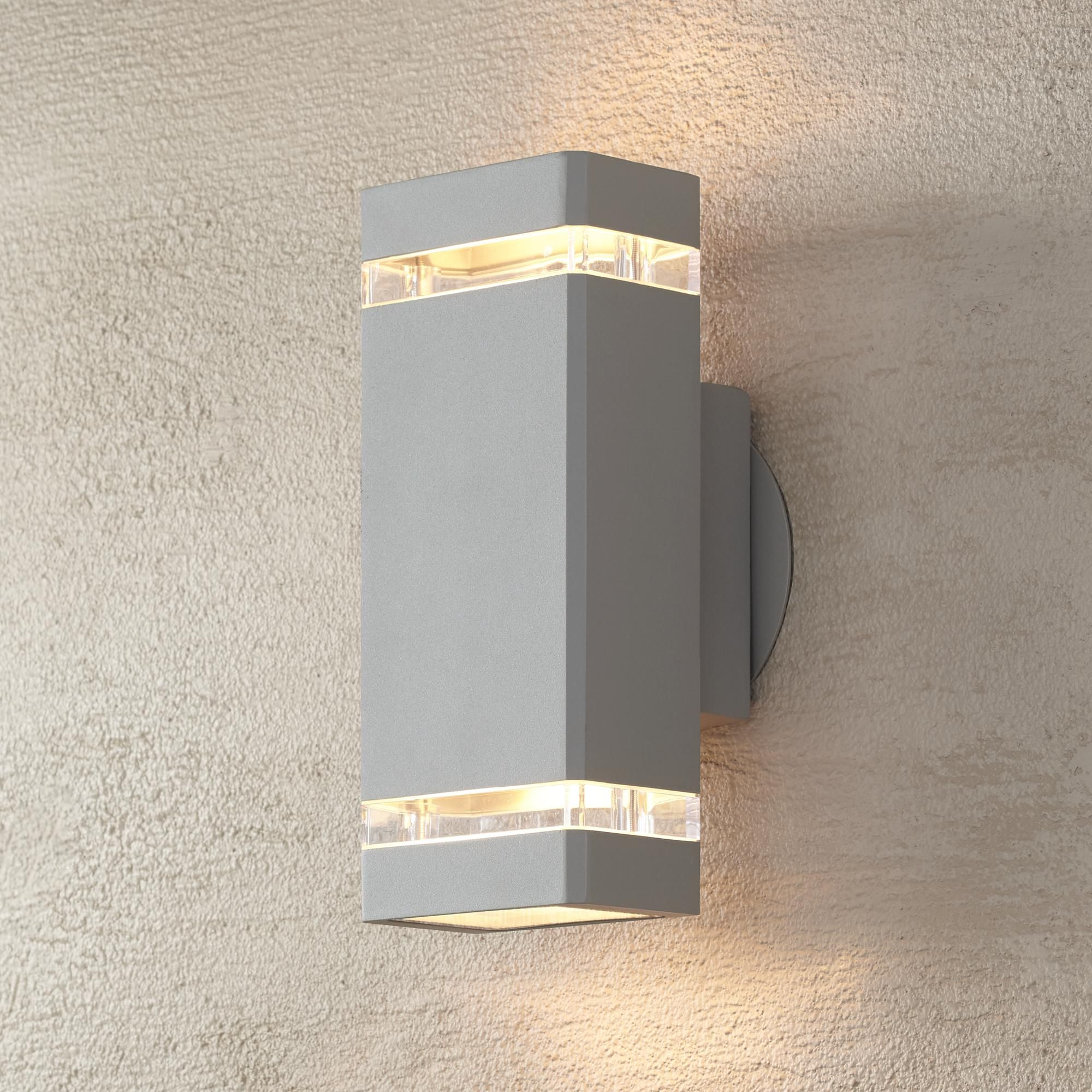 10 x Silver Brushed Chrome Outdoor Up Down Wall Light With Lamps IP65 Exterior