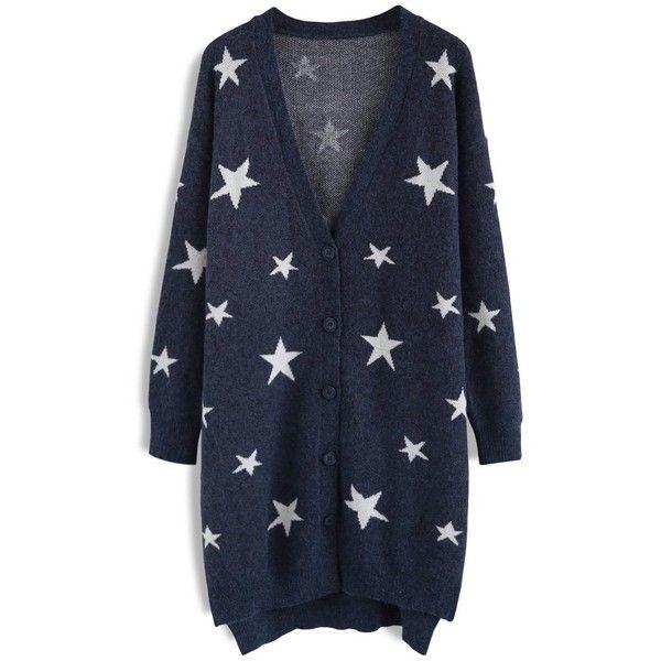 Chicwish Magical Stars Knit Longline Cardigan in Navy (3.165 RUB ...