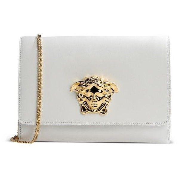 Versace White Medusa Clutch 530 Liked On Polyvore Featuring Bags Handbags Clutches Genuine Leather Purse