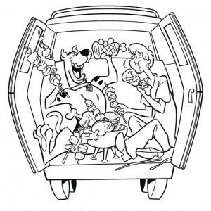 Mystery Machine Coloring Pages Scooby And Shaggy Making Bbq
