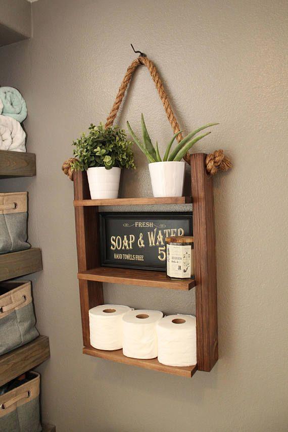 Hanging Bathroom Shelf Rustic Shelf Bathroom Ladder Shelf | pallet ...