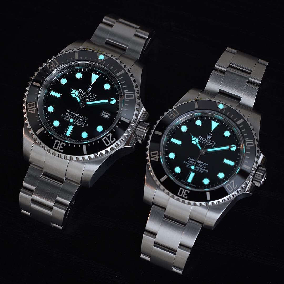 Big brother and little brother with lume  Left 116660 Deep Sea Sea Dweller Right 114060 No Date Submariner  #Rolex #dssd #116660 #watchalerts #wristporn #wristwatch #seadweller #watchaddict #lume #watchoftheday #rolexdiver #divewatch #toolwatch #CrownandCaliber #instawatch #lumeshot #watchshot #ultimate_watches #deepsea #swissmade #dailywatch #watchfam #luxurywatch #dssdposse #rolexwatch #rolexholics #submariner by rolexdiver