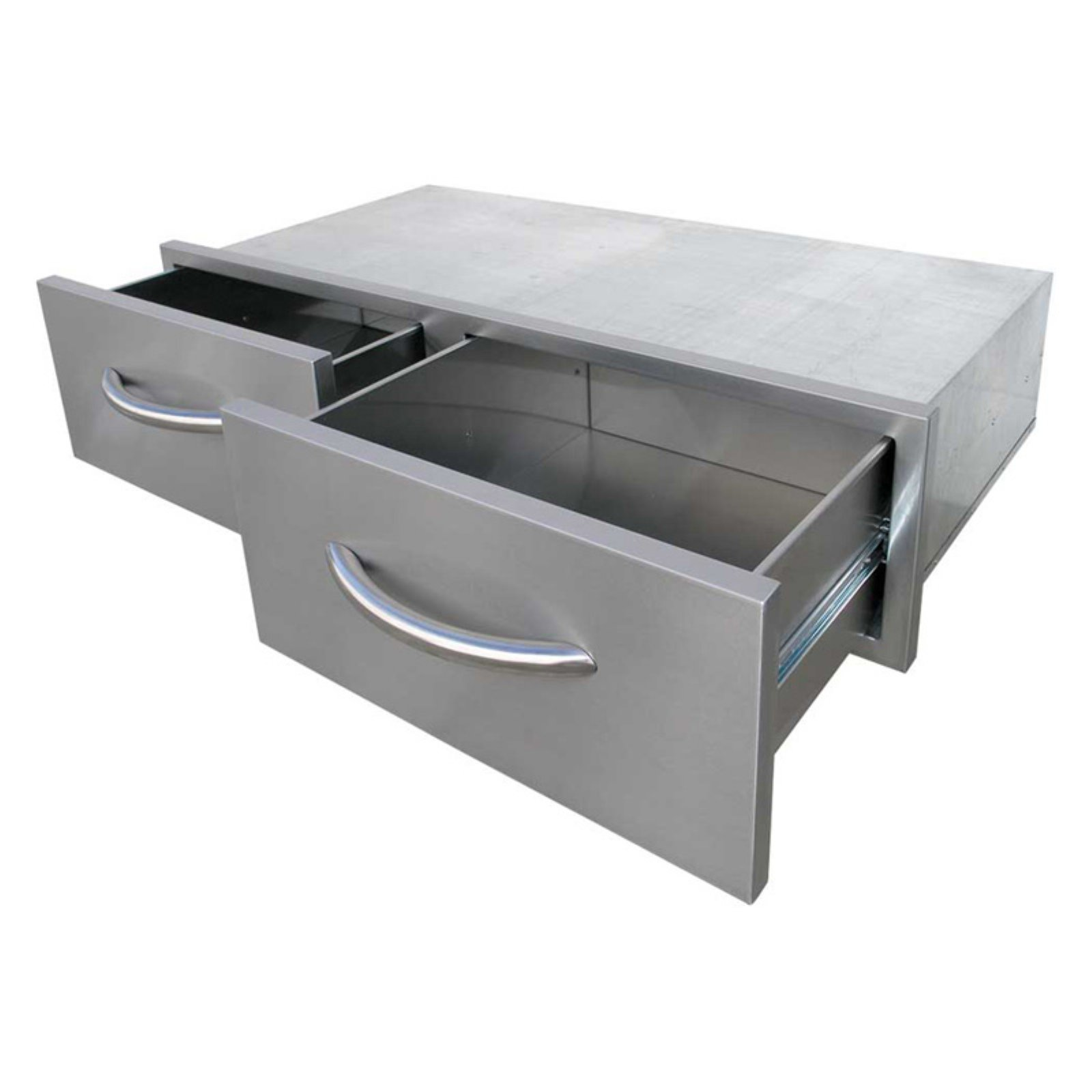 Cal Flame 2 Drawer Horizontal Cal Flame Bins Outdoor Kitchen Cabinets