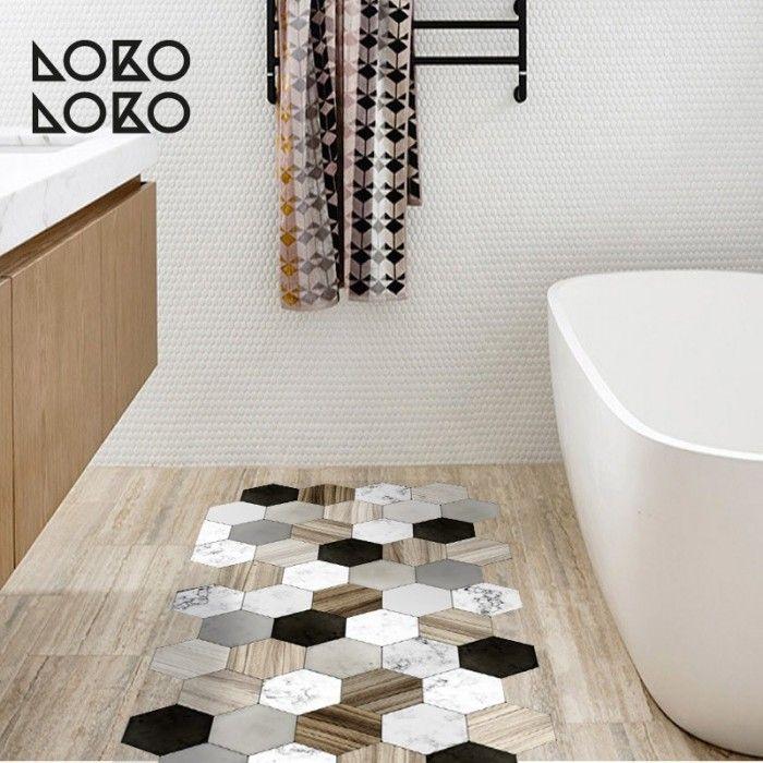 suelo de azulejos hexagonales de cermica y madera