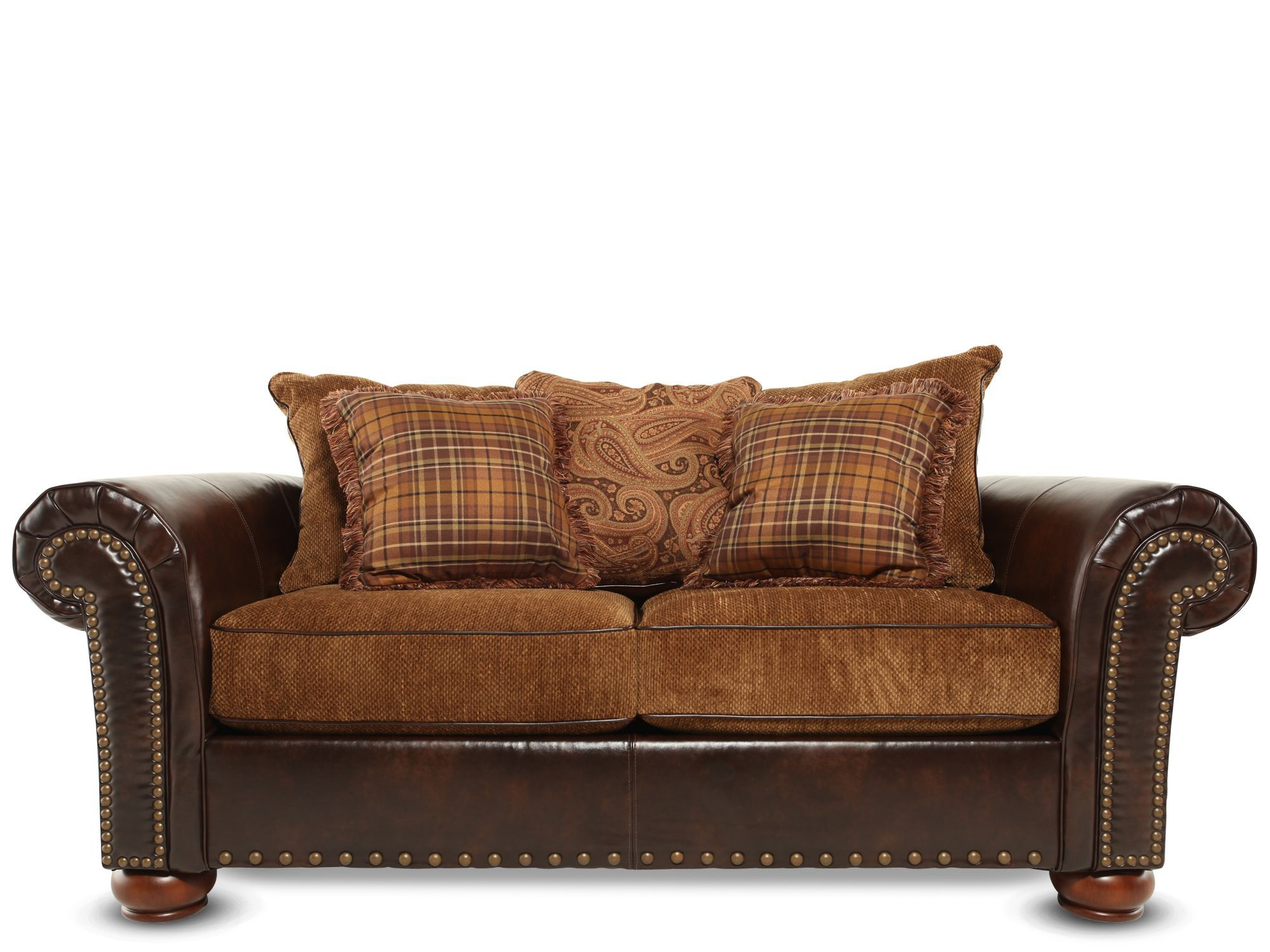 Leather Fabic Studded Loveseat Promotion Furniture