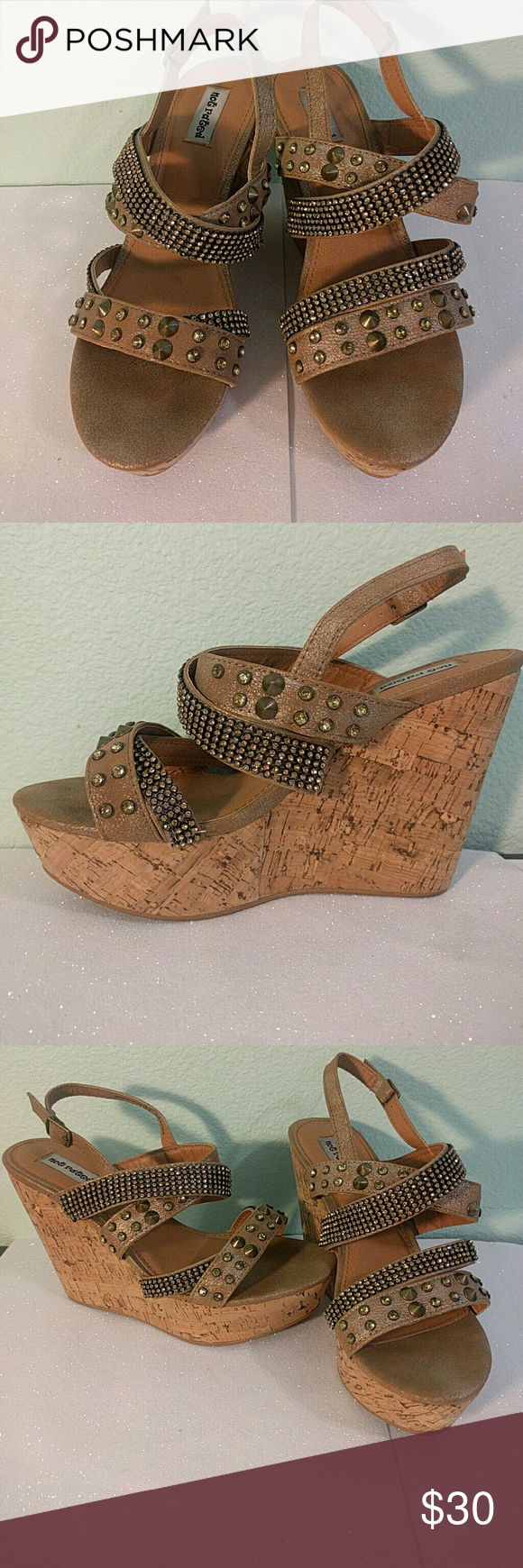Bedazzled Tan Wedges Very flashy cute wedges Only worn once Not Rated Shoes Wedges #shoewedges
