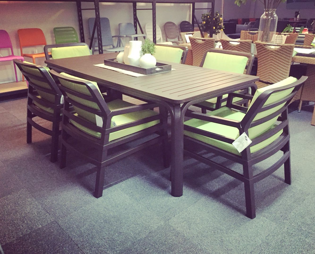 Nardi Alloro 210 Dining Table With Aria Chairs In Caffe/lime