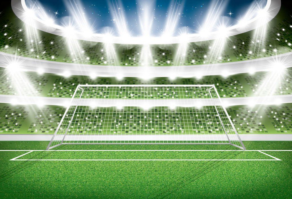 Football Field With Soccer Goal And Lights Backdrop For Photography Sports Hu0429 Soccer Stadium Soccer Soccer Goal