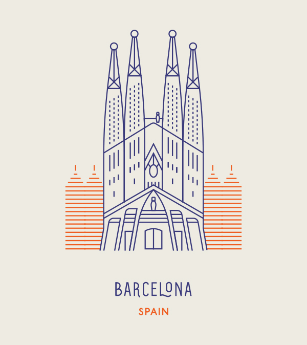 World landmark as line icons illustration pinterest for Landmark design
