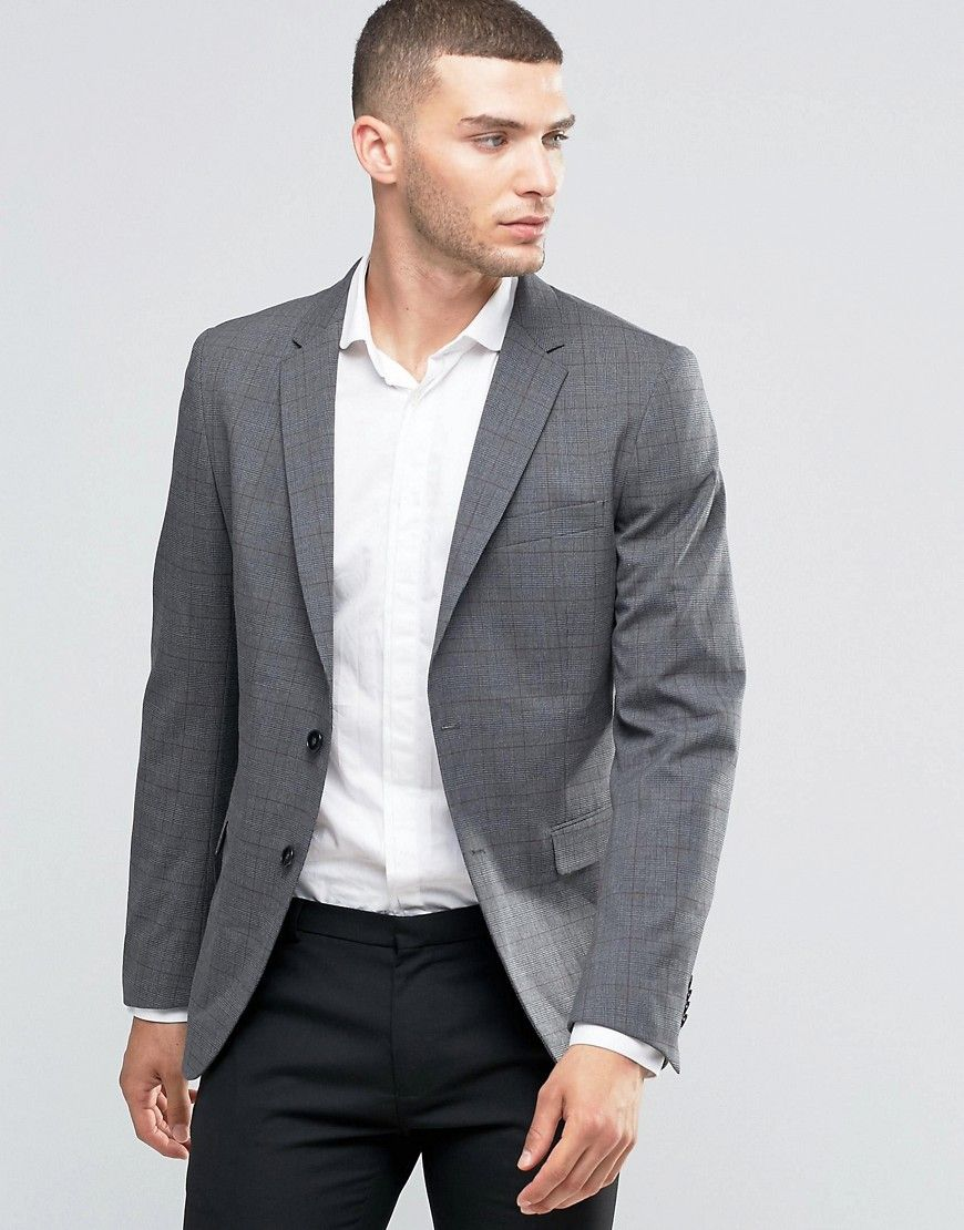 Get this Sisley s suit now! Click for more details. Worldwide shipping.  Sisley Slim Fit Suit Jacket in Prince of Wales Check - Grey  Suit jacket by  Sisley 7c04ec15f