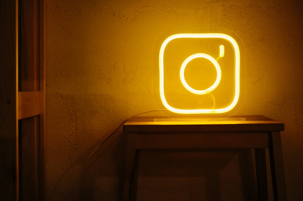Instagram icon Neon sign on table Custom color Etsy in