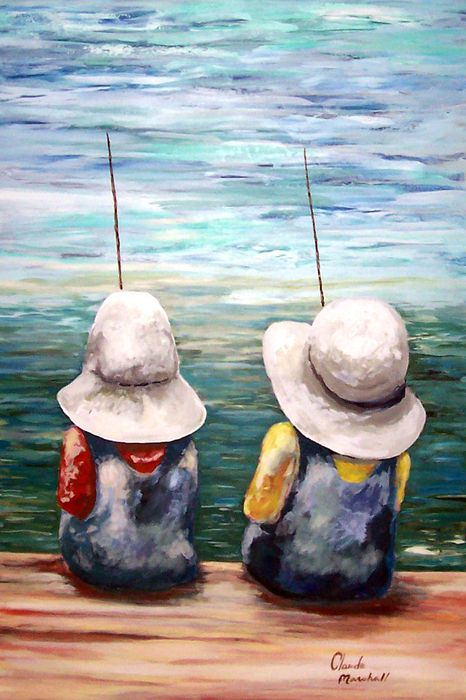2 Young Fishermen Art Painting Canvas Painting