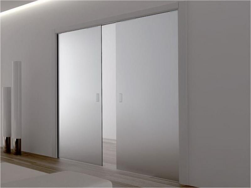 Decorations Simple Design Frosted Glass Frameless Sliding Doors For