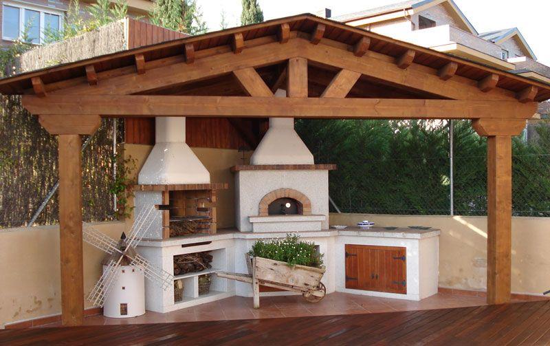 Porches de madera estructuras de madera en 2018 pinterest hogar asador y madera - Estructuras de chimeneas ...