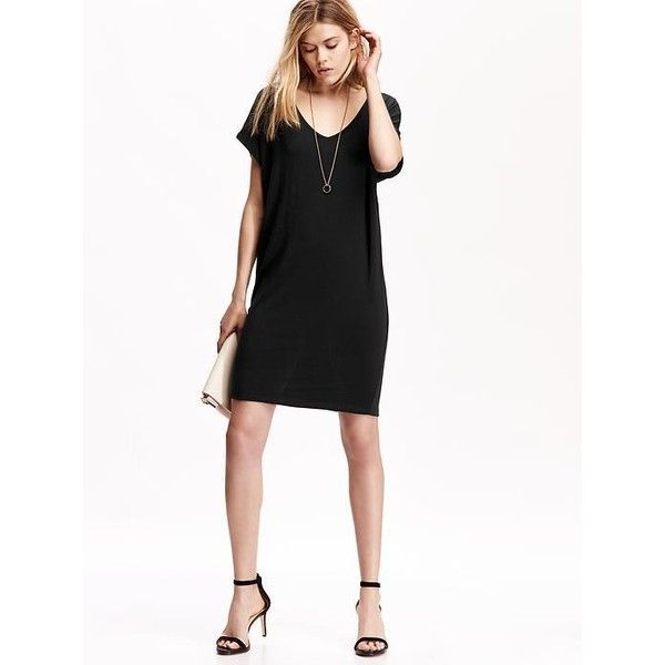 Black dress v neck navy dress