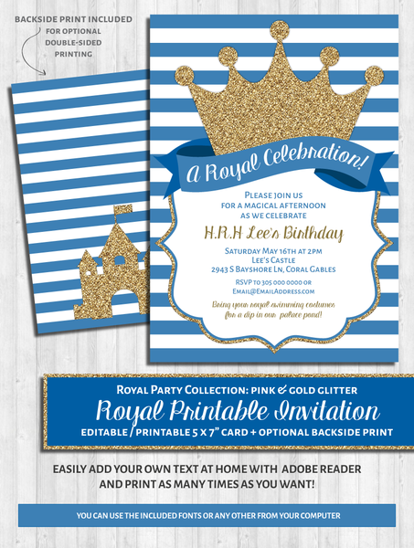 prince baby shower invitations princess party invite blue gold glitter