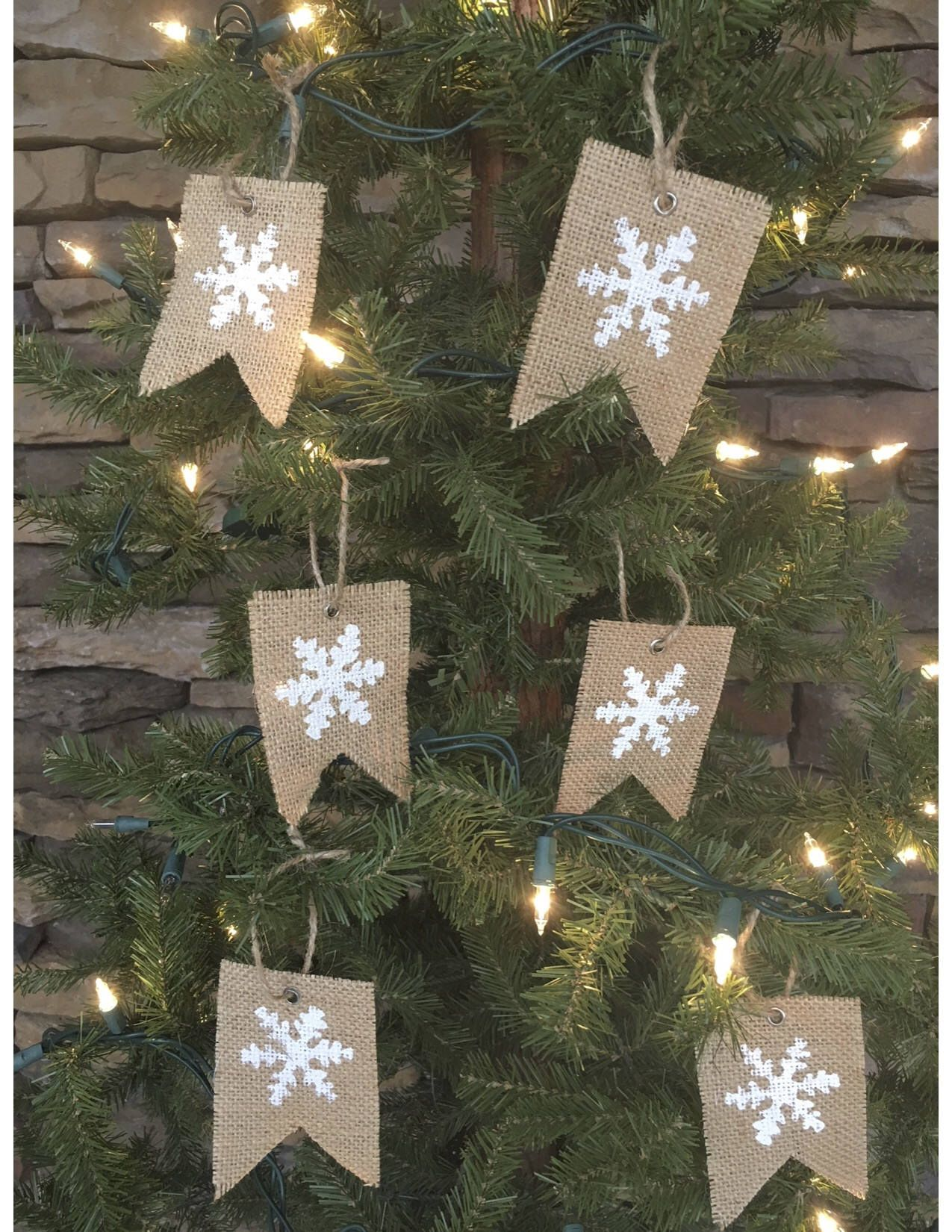 Burlap Christmas Tree Ornaments Christmas Tree Ornaments Burlap Snowflake Ornaments Set Of Burlap Ornaments Christmas Decor Christmas Banners Christmas Stencils Burlap Christmas