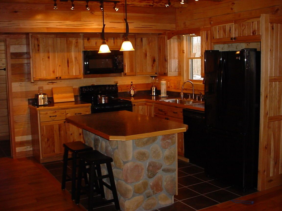 Rustic Kitchen With Island Amp Hickory Cabinets Click To