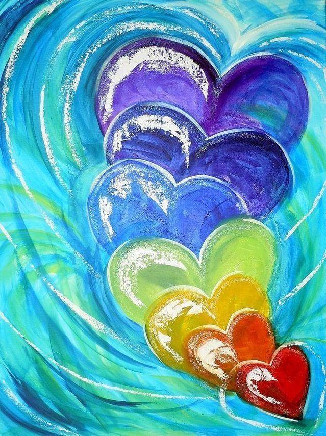 Viele Bunte Herzen Herz Malen Bilder Selber Malen