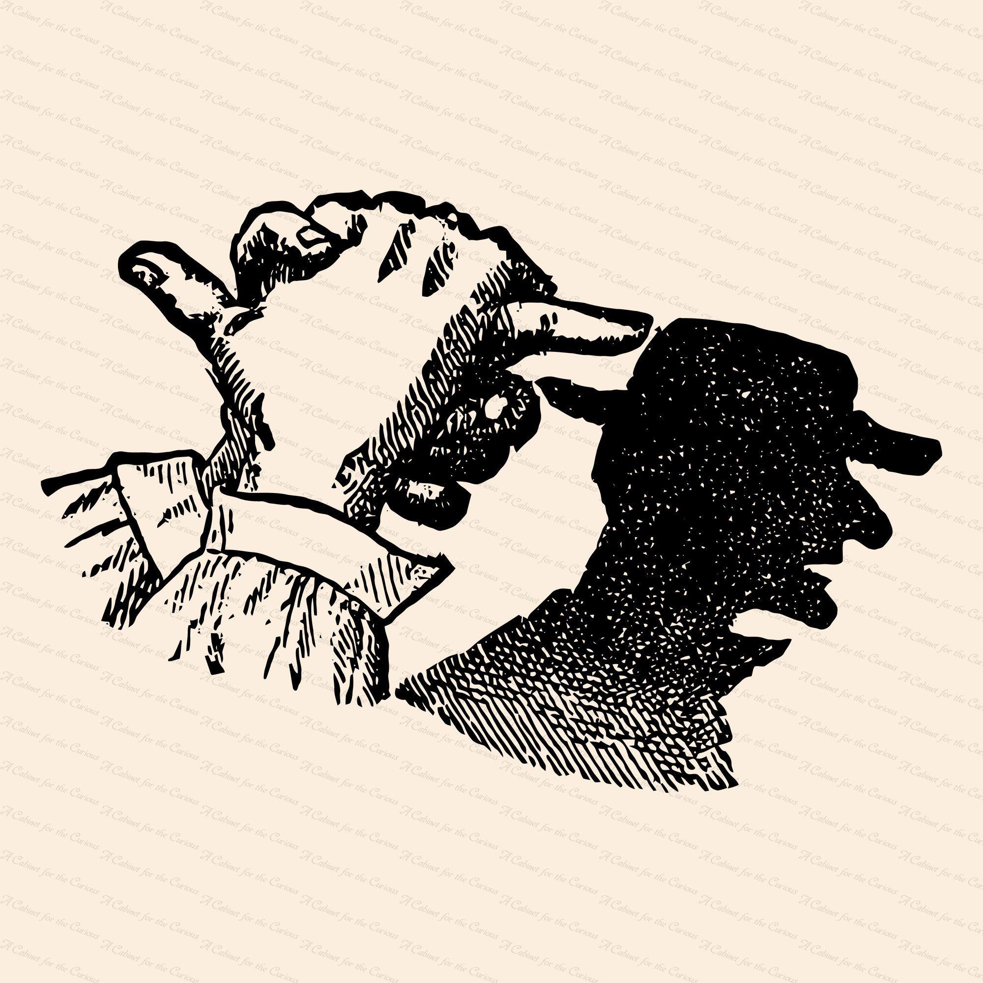 Vintage Victorian Shadow Puppet 1890s Man Wearing Hat