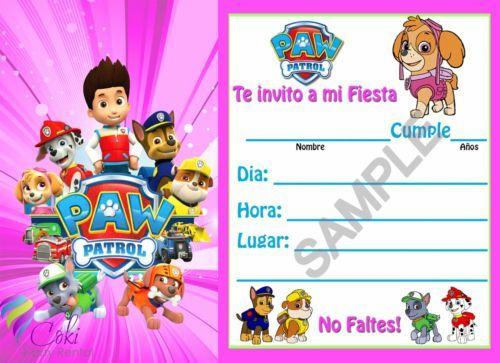 Invitaciones Paw Patrol Espanol Nino Y Nina 12 Birthday