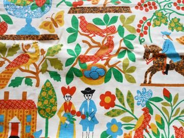 Vintage Waverly Fabric 1 Yd Bright Folk Art Colonial Print By Theelectricpoodle For 10 00