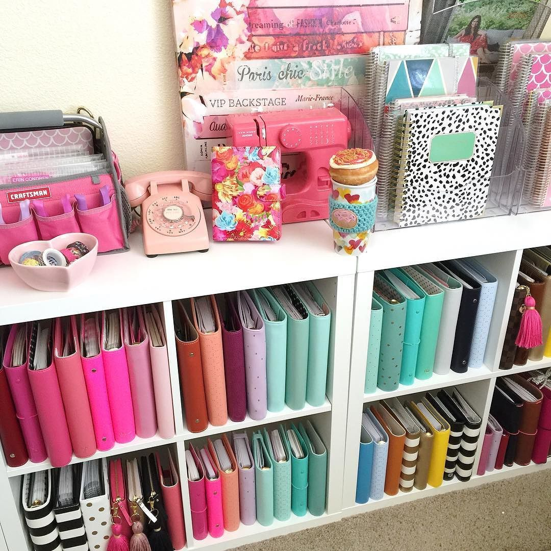 Planner collection organized and color coded.  My entire Etsy shop is still 30% off!  Stock up on tassels keychains bookmarks dashboards pom poms and more.  Items are selling out quick!  Shop link and coupon code is in my bioCoupon code expires Sunday evening! by hautepinkfluff